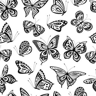 蝶のパターン。ロマンチックな空飛ぶ蝶のシームレスなテクスチャ。抽象的な美しい春の壁紙。テキスタイルまたは内壁。春の蝶のパターンのシームレスなモノクロイラスト