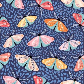蝶のシームレスなパターン、装飾的なモダンなデザイン