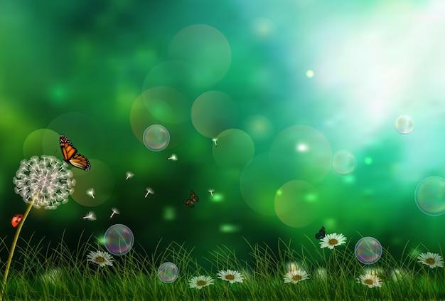 Бабочки ищут нектар на поле