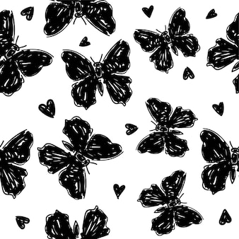 나비 실루엣 배경 인쇄 여름