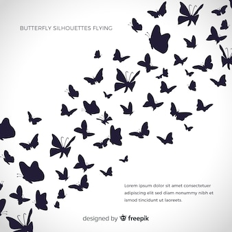 Butterflies silhouettes background