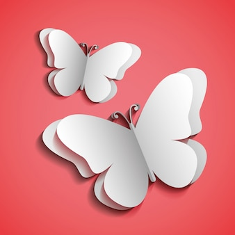 Butterflies silhouettes pink background