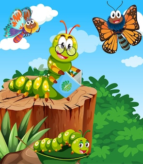 Butterflies and worm reading book are living in the garden scene at daytime