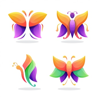 Butterfly abstract logo vector
