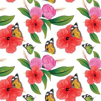 蝶とカラフルな花のパターン