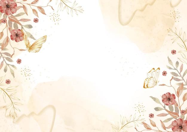 나비와 꽃 수채화 그림 배경