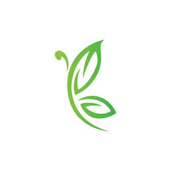 Butterfly and Leaf Logo Design Vector Combination