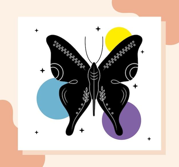 色の数字と蝶の動物の現代的なシルエット