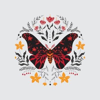 Butterfly artwork with folk art style