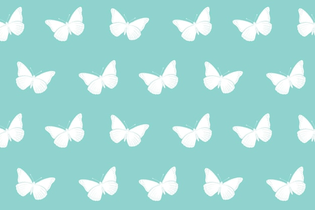 Butterfly background pattern, mint green minimal design vector