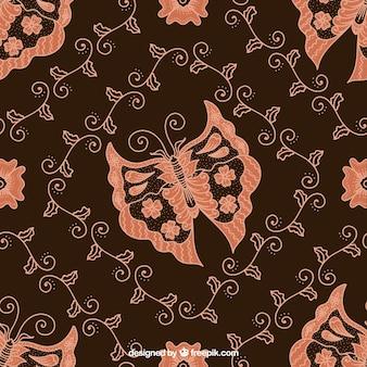 Бабочка батик цветочный фон