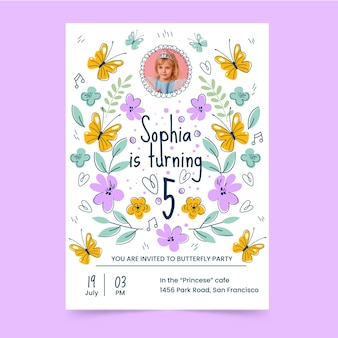 Butterfly birthday invitation template with photo
