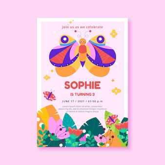 Butterfly birthday invitation template Free Vector