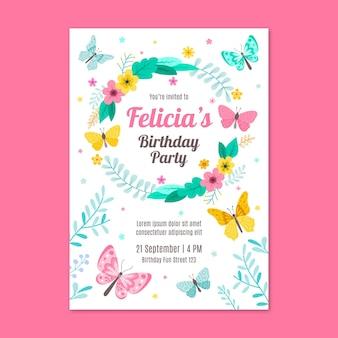 Butterfly birthday invitation template
