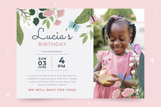 Butterfly birthday invitation with photo