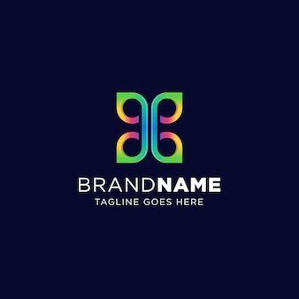 Butterfly blend logo template symbol with vibrant color. geometric colorful symmetric sign.