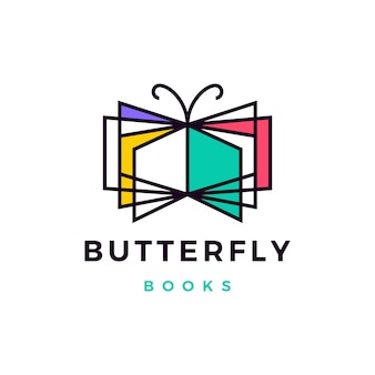 Butterfly books logo  icon illustration