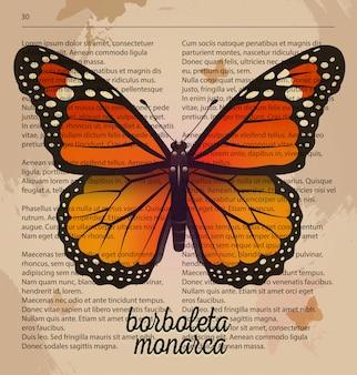 Butterfly borboleta monarca. Premium Vector