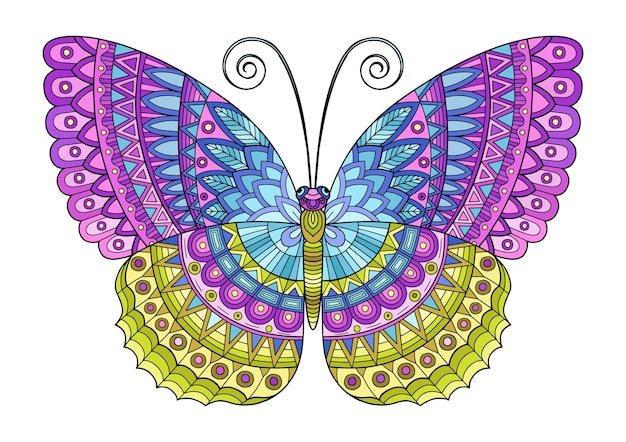 Butterfly of bright colors. image for print on clothes, coloring, backgrounds.