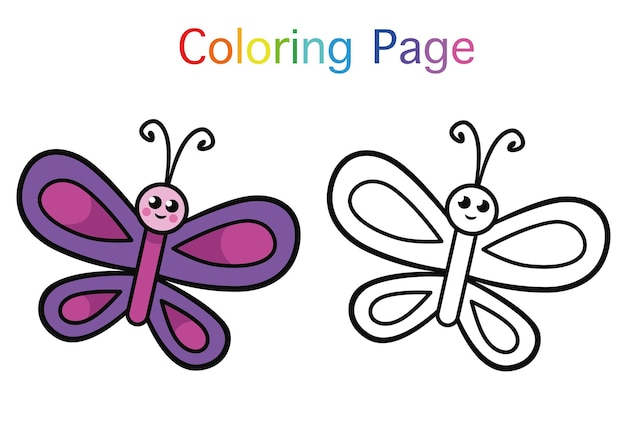 Butterfly cartoon character coloring page for children vector illustration