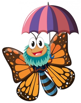 Butterfly character holding umbrella