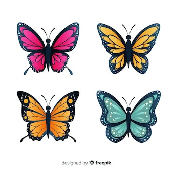 Butterfly collection Free Vector