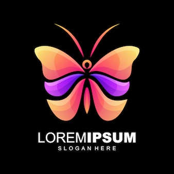Butterfly  collorful gradient logo design