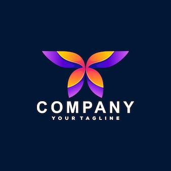 Дизайн логотипа градиента цвета бабочки