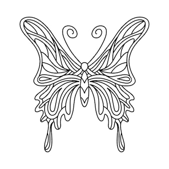 Butterfly coloring book. linear illustration of a butterfly.  illustration