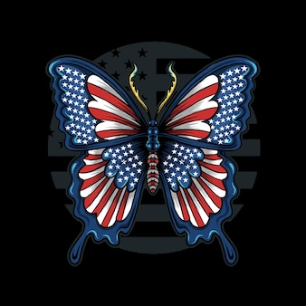 Butterfly in the colors of the flag of the united states