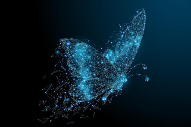 ポリゴンで構成された蝶星空またはコスモスの低ポリベクトルイラスト