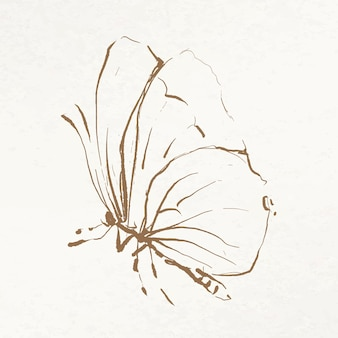 ヴィンテージのパブリックドメインの画像からリミックスされた蝶の落書きイラストベクトル