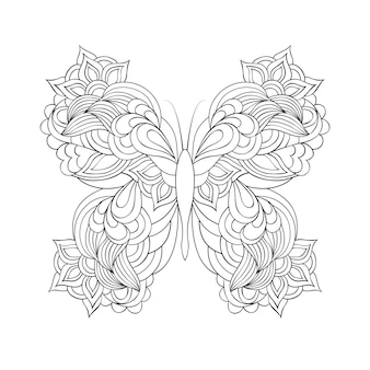 Butterfly in doodle style . coloring page