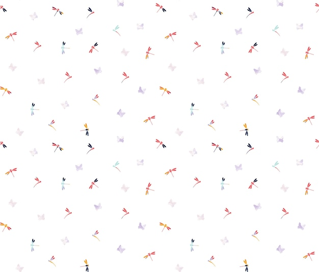 Butterfly and dragonfly pattern background