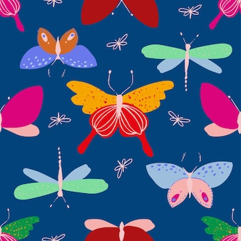 Butterfly and dragonfly pattern in bright neon colors