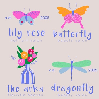 Butterfly and dragonfly premade logo collection