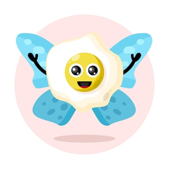 Butterfly egg cute character logo