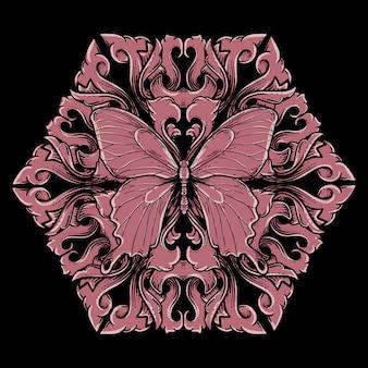 蝶彫刻飾り