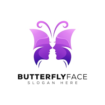 Butterfly face logo, beauty woman logo, beauty with butterfly logo concept