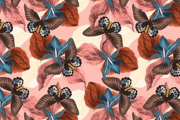 デザインスペースのある蝶の花の抽象的な背景ベクトル、ジョージ・ショーによる自然主義者の雑多なものからのリミックス