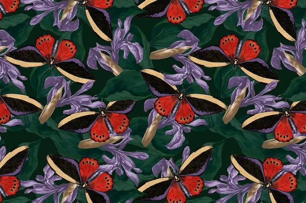 Бабочка цветочный абстрактный фон вектор с пространством дизайна, ремикс из сборника натуралистов джорджа шоу