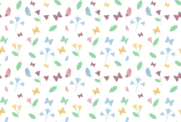 Butterfly and flower pattern background