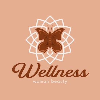 Butterfly flower spa logo template isolated on beige