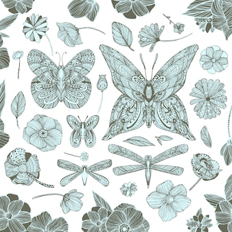Butterfly and flowers background design