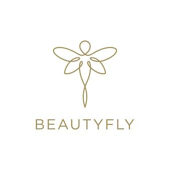 Butterfly fly minimalist beautiful elegant line art logo