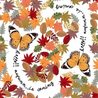 가 겨울을 통해 비행하는 나비 나뭇잎 벡터