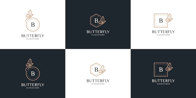Butterfly frame collection, letter b butterfly logo design