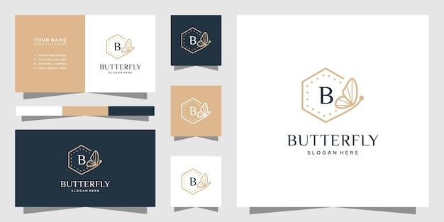 文字bデザインの蝶のフレームのロゴ