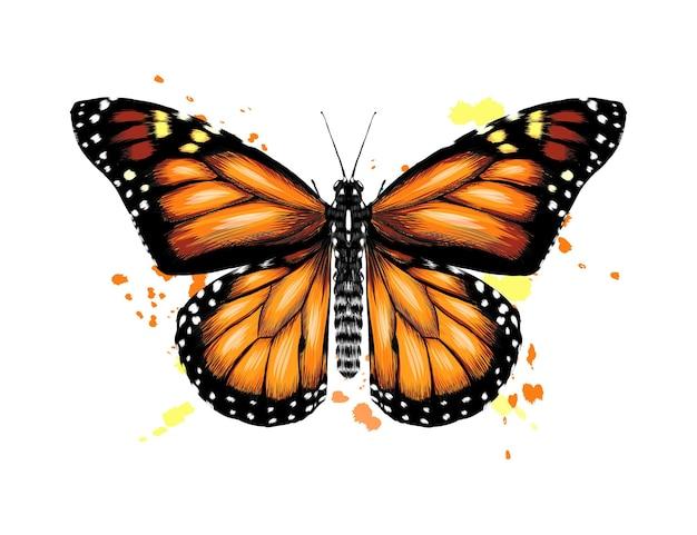 Бабочка из всплеска акварели.