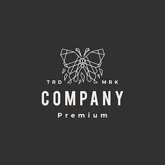 Butterfly geometric hipster vintage logo template